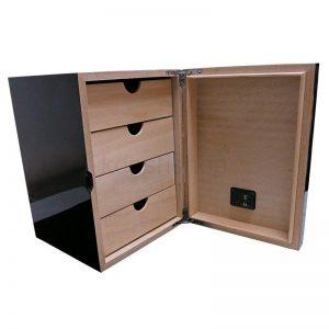 COHIBA High Glossy Finish Spanish Cedar Wood Behike 4 Drawers Humidor Cigar Cabinet Cigars Humidor W/ Hygrometer Humidifier