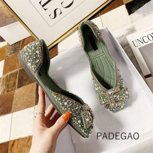 2020 Women Shoes Green Butterfly-kont Crystal Bling Flats Shoes Flock Party Women Shoes Flats