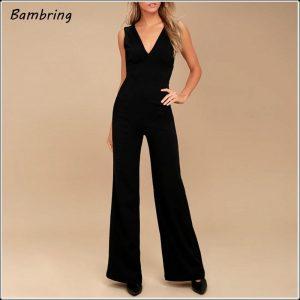 Sexy Deep V-neck Halter Jumpsuit Sleeveless Elegant Evening Party Slim Women Rompers Casual Summer Long Loose Overalls Custom