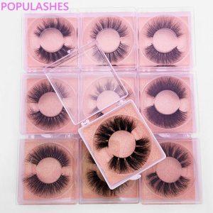 3d Mink False Eyelashes in Bulk Fluffy Thick Natural Lash Kit Glitter Pink Card Square Plastic Box Packaging