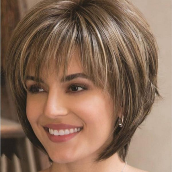 WHIMSICAL W Women Synthetic Mixed Blonde Brown Short Wigs Natural Hair Wigs Heat Resistant Hair Wig for Women
