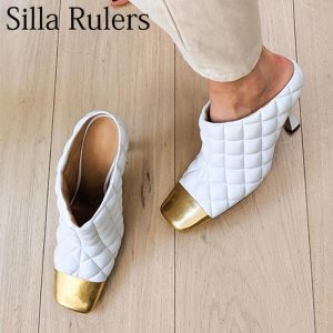 New fashion Rhombus type genuine leather pumps woman Metal toe mules woman high heels shallow zapatos de mujer 2019