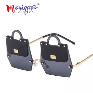 2019 New trend handbag shape sunglasses women Irregular metal frame cool modern rimless fashion sun glasses oculos de sol UV400