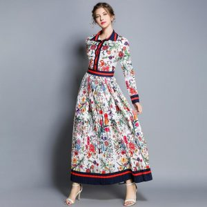 autumn new retro contract color floral dresses for women 2020 print long sleeve turn-down collar pleated flower maxi long dress