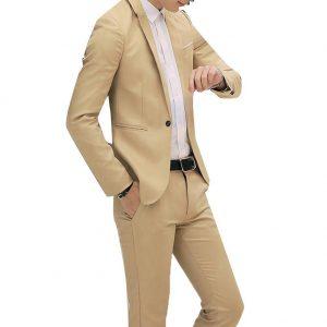 New Male Slim Wedding Prom Suit Khaki White Black Slim Fit Tuxedo Men Formal Business костюм Work Wear Suits 2Pcs 2019 hot sale