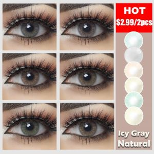 2pcs/pair Color Contact Lenses for Eyes Makeup Beautiful Fashion Comfort Colored Lenses Eyes Contact With Color Lenses Gray