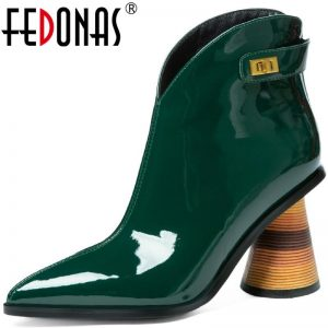 FEDONAS Elegant Metal Decoration Autumn And Winter Shoes For Women Genuine Leather High Heels Pumps Party Working Shoes Woman