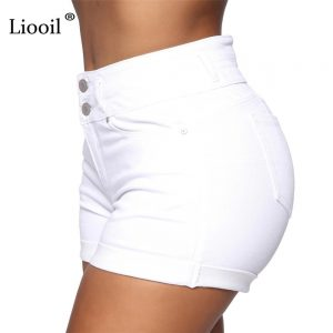 Liooil Black White Skinny Curly Jean Shorts Women High Waist Summer 2021 With Pockets Button Up Female Bodycon Sexy Denim Shorts