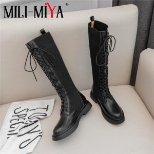 Brand  New Fashion Women Knee-High Boots Cow Leather Slip On Square Heels famous Winter Ladies Shoes Size 34-40 Motorcycle Boots
