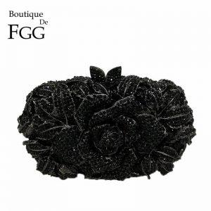 Boutique De FGG Black Jet Crystal Clutch Evening Bag For Women Metal Floral Clutches Wedding Party Flower Rose Handbag and Purse