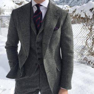 Herringbone Wool Grey Men Suits For Formal Business Groom Wedding Tuxedo 3 Piece Tweed Man Set Jacket Waistcoat with Pants