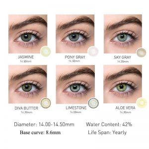 2pcs Colored Contact Lenses Eye Beeswax Series Contact Lenses Color Contact Lens for Eyes Lenses Gray Yearly Natural UYAAI