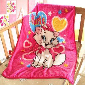 Cute Cartoon Textile Marie Cat Children Kids Soft Warm Sofa Coral Fleece Throw Blanket Rug Plush 70X100cm