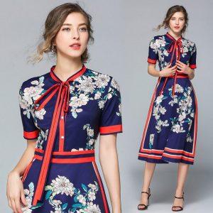 Designer Dresses Runway 2020 High Quality Autumn Casual Shirt Dress Women bow Vintage Dress Vestidos Robe Femme