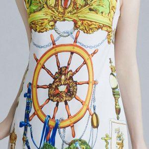 2019 New Runway Fashion Summer Designer Women's Sleeveless dress Vintage Wheel Pattern Printed Tank Mini Dresses Vestido robe