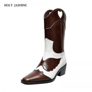 2019 Winter Newest Genuine Leather denim knee high boots for women embroidery knight long boots retro cowboy western booties