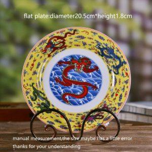 8inch Jingdezhen Dragon Plate Ceramic Vintage Decor Display Plates Deep/flat Round Dish Fruit Cake Holder Container Tableware