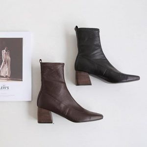 Ankle boots 2019 autumn and winter new boots women's high-heeled elastic boots large size boots