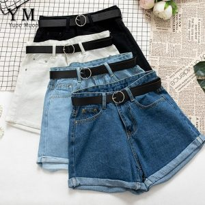 YuooMuoo All Match Sashes Casual Women Denim Shorts Crimping High Waist Slim Summer Jeans Shorts Feminino Chic Hot Ladies Bottom