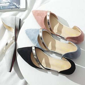 2019 women flats pointed toe ballet flats cut out straps woman sandals elegant summer shoes flock fashion solid casual dress