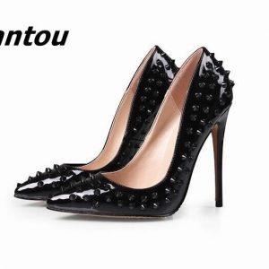 Cheap Rivets Pointed Toe High Heels Fashion Black Patent Leather Stiletto High Heel Pumps Wedding Bridal Slip-on Rivets Shoe