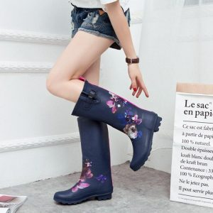 Cuculus Women Pvc Prince Waterproof High Heel Water Shoes Tall Rain Boots Ankle Rain boots Female Rubber Toe Rain boots 1298