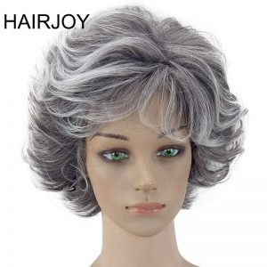 HAIRJOY Women Wig 2 Tones Grey White Ombre Synthetic Short Layered Curly Hair Puffy  Bangs Heat Resistant 9 Color Available