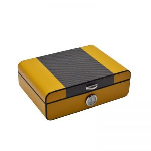 Carbon Fiber Office & Home Solid Wood Cigar Humidor high gloss finish Cigar moisture box humidity adjustable Cigar Storage Box
