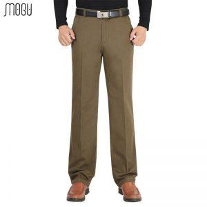 MOGU Men's Autumen Winter Pants 2017 New Arrival 100% Cotton Men Business Casual Fashion Straight Fit Mens Trousers 6 Colors