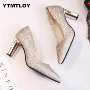 Sequins Pointed Toe Shoes Women Pumps Woman Luxury Bling High Heels Female Ladies Sexy Party Wedding Golden Gold Heel  Square