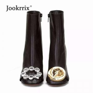 Jookrrix Warm Shoes Women Brand Martin Boots Rhinestone Real Leather Lady chaussure Metal Female footware Crystal with Fur Black