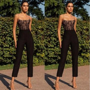 Vintage OL Spaghetti Strap Womens Sexy Lace Patchwork Jumpsuit Ladies Evening Party Long Playsuit