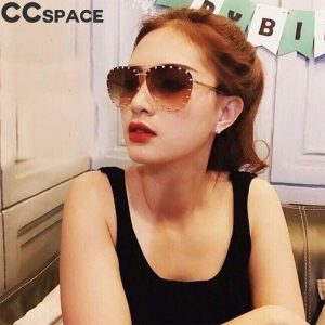 46423 Luxury Oversized Pilot Sunglasses Women Big Frame Sun Glasses Eyewear UV400 Retro Brand Designer