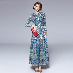 Merchall New Designer Runway Dress Lady Autumn High Quality Floral Print Bow Collar Long Sleeve Slim Floor Length Maxi dresses
