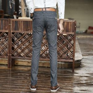 2019 Men's Casual pants Men's Spring and Summer New Slim stretch Casual trousers Men's youth Fashion Blue trousers Size 40 42