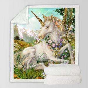 BeddingOutlet 3d Unicorn Blanket Watercolor Sherpa Blanket on Bed Kids Girl Flower Home Textiles Dreamlike mantas 150x200