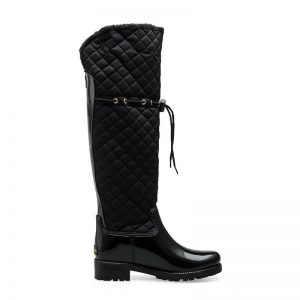Rouroliu Women Rubber Patchwork Rain Boots Square Heels Over Knee Winter Warm Fur Rainboots Water Shoes Woman TR219