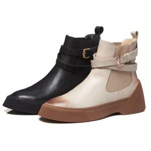 MLJUESE 2019 women ankle boots cow leather black color retro winter short plush pointed toe platform flat women Chelsea boots