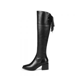 European design zipper Gorgeous lace natural leather oxford pointed toe thick high heels plus size slender thigh high boots L2f3