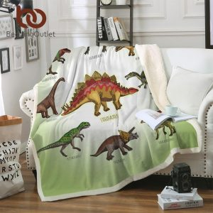 BeddingOutlet Dinosaur Family Blanket for Kids Cartoon Microfiber Jurassic Plush Sherpa Throw Blanket on Bed Sofa Boys Bedding
