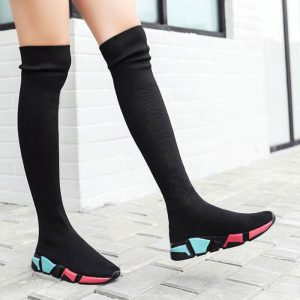 Elastic Over The Knee Boots Women Socks Black Boots Long Thigh High Slim Knitting Boots Sneakers Platform Designer Long Shoes