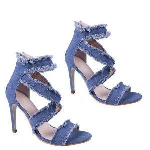 LIN KING Vintage Denim High Heel Women Sandals Back Zipper Peep Toe Summer Single Shoes Rome Thin Heel Office Ladies Dress Shoes
