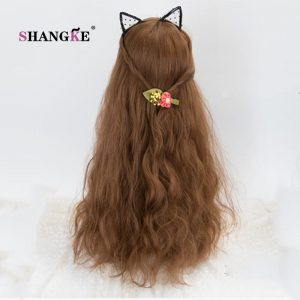 SHANGKE Long Kinky Hair Wig Heat Resistant Synthetic Wigs For Women Natural Fake Hair With Middle Hair Part