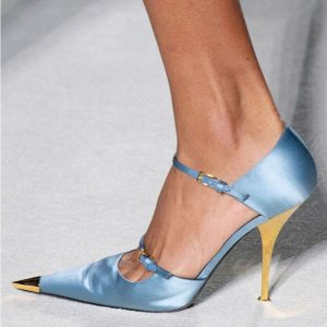 2019 new spring silk thin high heel pumps women ankle strap metal pointed toe shallow shoes woman party shoes show pumps woman