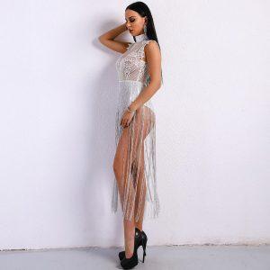 Yesexy 2021 Sexy Women Tassel Playsuits Women Overalls High Neck Sleeveless Lace See Through Glitter Tassel Bodysuit VR8901
