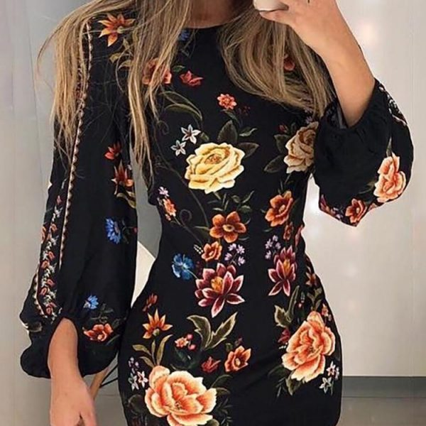 2019 Elegant Fashion Women Slim Fit Leisure Casual Bodycon Mini Dress Female Cutout Back Bishop Sleeve Floral Dress
