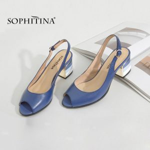 SOPHITINA Fashion Sandals Handmade Genuine Leather Sexy Lady Peep Toe Sandals Square Heel Buckle Strap Classics Shoes Woman S22