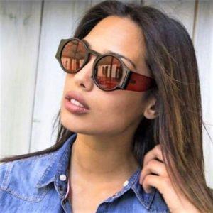 45383 Retro Round Sunglasses Sexy Shades Men Women Transparent Mirror Leg Brand Glasses Designer Fashion Female