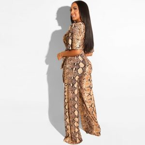 Sexy Snake Print Strapless Night Party Club Jumpsuit Women Summer Casual Deep V Neck Short Sleeve Rompers Female Overalls Outfit