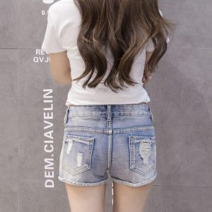 Plus Size High Waist Jeans Shorts Women Cartoon Embroidery Jeans Denim Short Distressed Ripped Jeans Pearls Summer Jeans Woman